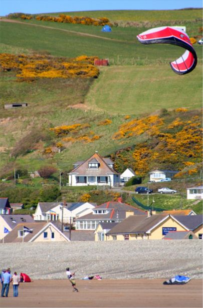 Kite carting on Newgale beach